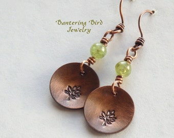 Peridot Earrings with Tree of Life Charms, Small Copper Disc Earrings, Green Gemstones, Stamped Metal, Rustic Copper Jewelry, Spring Jewelry