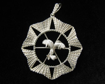 SALE Large Medallion Pendant with 2 Fish in Center.  The Leaping Fish are Entwined.  Pisces Design, Possibly Celtic.