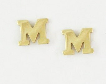 Solid 14k Gold Letter Stud Earrings - Gold Initial Earrings - Gold Monogram Studs