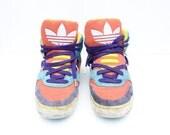 80s ADIDAS Insane RAINBOW Trefoil Logo Hi-Top Basketball Sneakers / Runners - Unisex