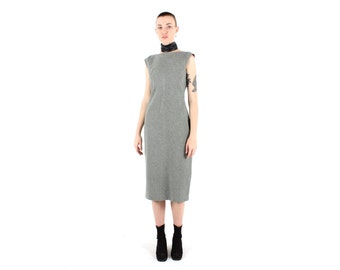 90s Minimal Simple Grey Cap Sleeve High Neckline Midi Dress