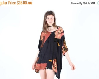 10,000 LIKES 7 Day Sale 90s INDIAN GAUZE Oversized Slouchy Free Size Floaty Abstract Mini Hippie Tee Dress