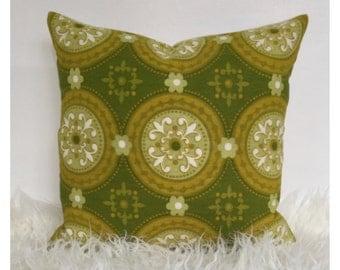 "Retro Cushion Cover Original Vintage 60s 70s Green Fabric 16"" x 16"""