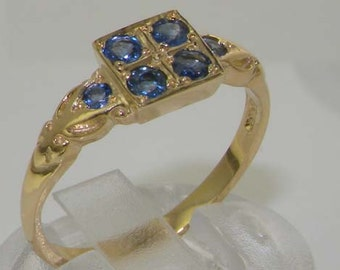 Dainty 9K 375 Yellow Gold Natural Light Blue Sapphire Cluster Square Ring, 6 Stone Sapphire Ring, Antique Victorian Vintage Style Ring