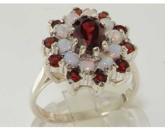 Solid 925 Sterling Silver Natural Garnet & Colorful Opal Large 3 Tier Cluster Flower Ring, English Vintage Design Ring - Customizable