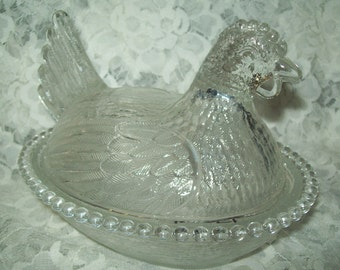 Vintage Indiana Glass Nesting Chicken Candy Nut Dish Clear