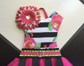 Boutique Tutu Bow Holder Floral Stripe Pink Black Green Orange Fuschia Spring