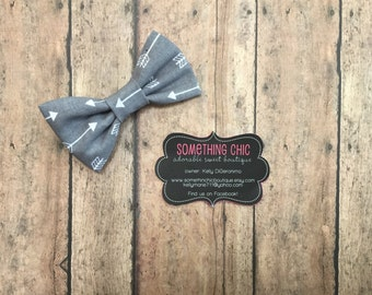 Boys Gray Grey Arrow Print Aztec Bow Tie Boys Child Toddler Infant Gray Collar Bow Hairbow