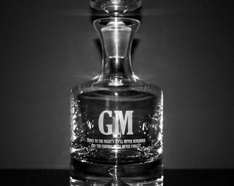 Crystal Groomsmen Decanter w/ Initials & Custom Text - Personalized Gift Ideas