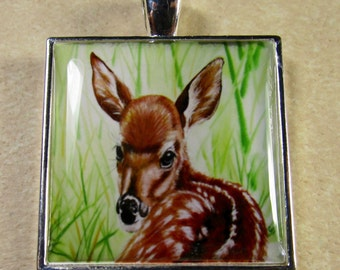 Deer Pendant - Whitetail Baby Deer Fawn Square Pendant, Jewelry