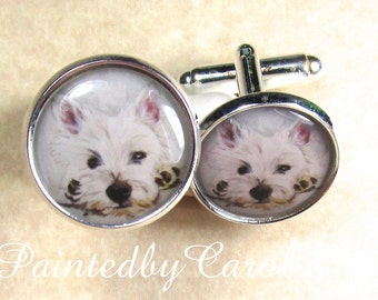 West Highland White Terrier Cufflinks, Westie Cufflinks, Westie Mens Gifts, Westie Grooms Cufflinks, Westie Bridal Jewelry, Westie Wedding