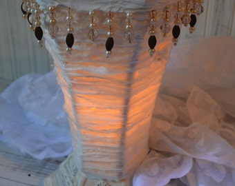 Table lamp Accent White silk rag ribbon with Beads and faux pearls Shabby cottage chic Upcyclesisters