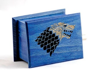 Game of Thrones Stark - The Song of Ice and Fire soundtrack and design inspired handmade wooden music box with melody paper strip
