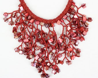 Red Coral Color Necklace . Fusion Necklace. Red Beads Bib Necklace. Chunky Choker. MapenziGems. DB14