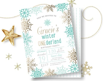Winter ONEderland Birthday Party Invitation - Kids Birthday Party Invite - Teal - Faux Gold Foil - DIY Printable - Print At Home