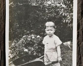 Original Antique Photograph Wheelbarrow Boy