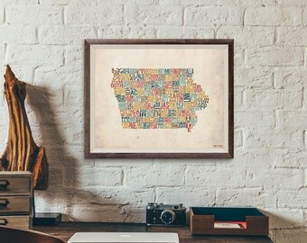 Iowa by County - Typography Print