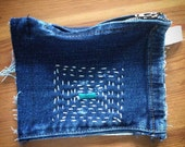 Upcycled Coin Purse, Zipper Bag, Denim Jeans, Sashiko Embroidered
