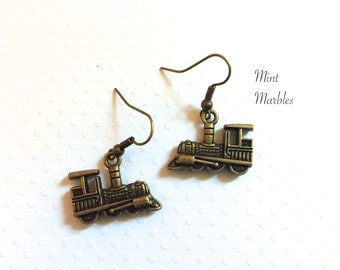 Train Charm Earrings. Vintage Style Brass Train. Locomotive. Travel. Adventure. Old Style Train. Under 10 Charms. Unisex.