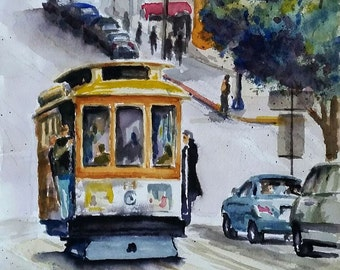 Powell St. Trolley - original watercolor painting