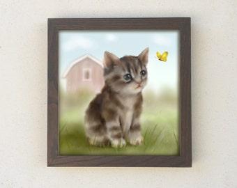Framed Kitty Cat Print, Baby Nurery Art, Farmhouse Decor, Kids Wall Art
