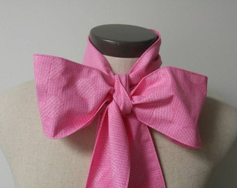 Upcycled Clothing Mad Hatter Bow Tie, Alice in Wonderland, Pink Cotton Print Costume Accessory