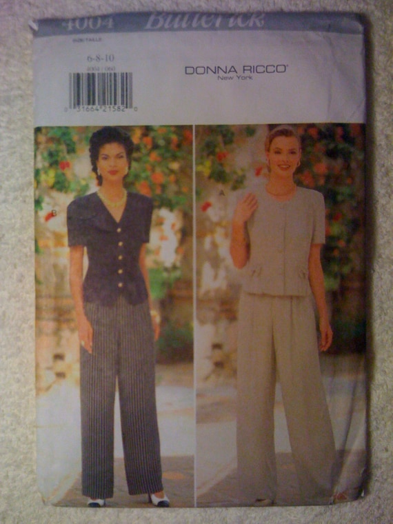 Butterick 4004 Sewing Pattern 90s UNCUT Misses Top and Pants by Donna Ricco Size 6-8-10
