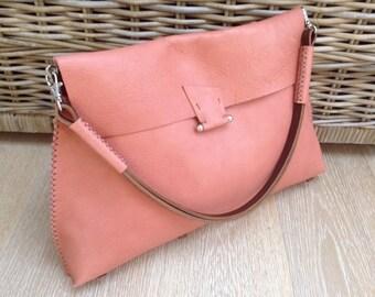One-off Handstitched large burnt orange leather shoulder bag