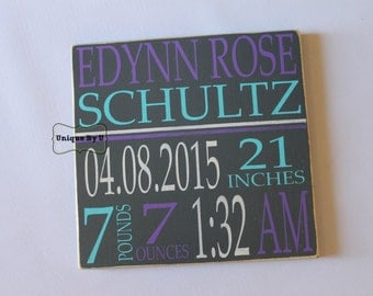 Hand Painted Typography Baby Birth Stat Sign Birth Announcement Birthdate Nursery Wall Decor