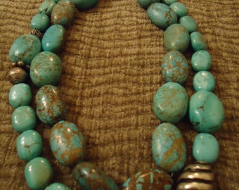 Handcrafted Southwestern One Of A Kind Chunky Turquoise Double Strand Necklace