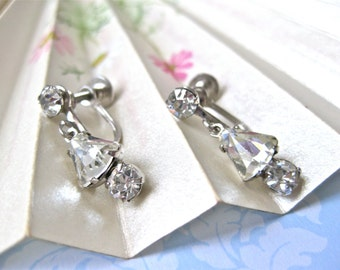 Clear Rhinestone Dangle Earrings Art Deco Shiny Screw on Backs Wedding Bridal Gift for Her
