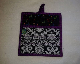 9 X 8 Damask and Alphabet, Black and White, ABC, Primary Colors, Pot Holder, Hot Pad, Oven Mitt, Insulated, Quilted, Pocket, Kitchen