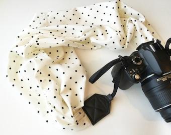 Vintage Scarf Camera Strap - polka dot camera strap - camera neck strap for dSLR digital cameras - polka dot