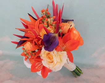 Beach Wedding Bouquet- Rose and Calla Lily Bouquet, Bird Of Paradise, Tropical Wedding- Made To Order