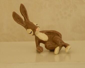 Easter Bunny Hagen-Renaker 1980s - Retired Resting Hare - Rabbit Figurine