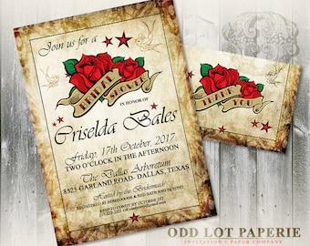 Rockabilly Bridal Shower Invitation, Rocker Wedding, Tattoo Wedding, Rose Wedding , Printable Invitation and thank you card, vintage, stars