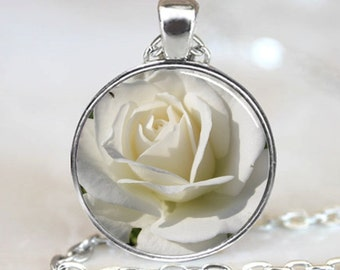 White Rose Flower Handcrafted  Necklace Pendant (PD0802)
