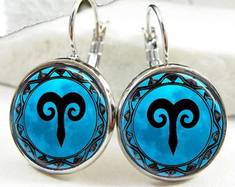 Aries Symbol Zodiac Earrings, Aries Horoscope Earrings (ER0462)