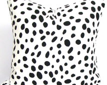 Black Pillow, BLACK Dalmation Pillow Covers, Decorative Pillow, Throw Pillow, 18x18, 16x16, 22x22, 26x26 and more-All Sizes, Euro, Cushion