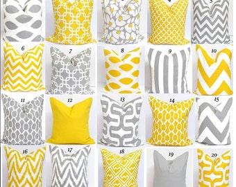 Gray Pillows, Yellow Pillows, Pillow Cover, Decorative Pillow, Throw Pillow, Grey Pillows, Yellow Pillow, All Sizes, Bedding, Euro, Cushion