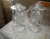 Beautiful Set of Vintage Candlesticks with Crystals, Wedding, Hollywood Regency, Shabby Chic, Victorian, French