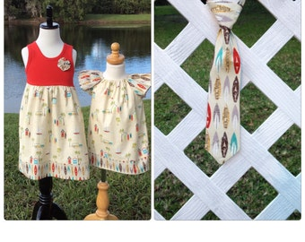 BROTHER SISTER SET- Surf's Up! Flutter sleeve dress or tank dress with matching tie - Choose any fabric on our site!  sizes 6 mo-7/8yrs