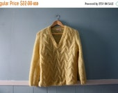 ON SALE Women' s vintage handknit cableknit sweater / Soft yellow mohair wool blend Italian sweater / Hand Made in Italy / Size small to med