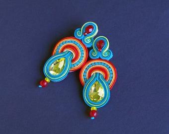 soutache earrings, colorful earrings, rainbow earrings, earstud earrings, crystals earrings, embroidery jewellery, braid earrings, beads