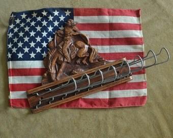 Vintage Wood Tie Rack Horse Tie Rack Cowboy Tie Rack Western Tie Rack Syrocco Tie Rack 1950s Cowboy Tie Organizer