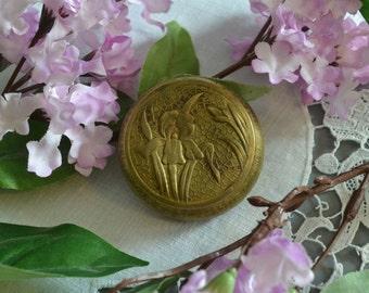 Vintage Art Nouveau Compact Art Nouveau Brass Compact Repossee Box Brass Mirrored Box Art Nouveau Vanity Collectible Iris Box