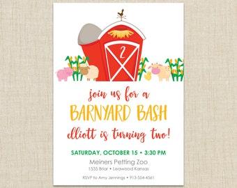 Barnyard Birthday Invitation, Farm Party Invitation,  Girl Farm Birthday Invitation, Pink Farm Party Invite,