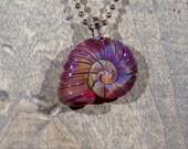 Cranberry Swirled Ammonite Borosilicate Pendant