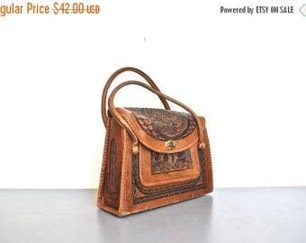 ON SALE Vintage Tooled Leather Purse