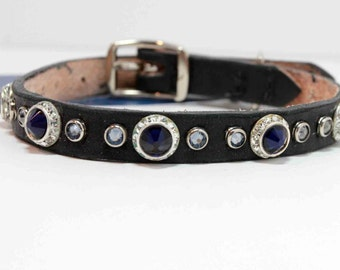 "10-12""  Blue Crystal Dog Collar on Leather"